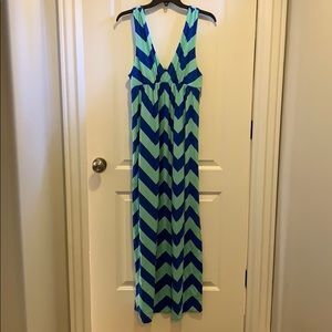 J Crew chevron stripe maxi dress